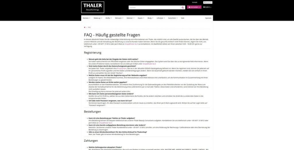 Thalershop FAQ