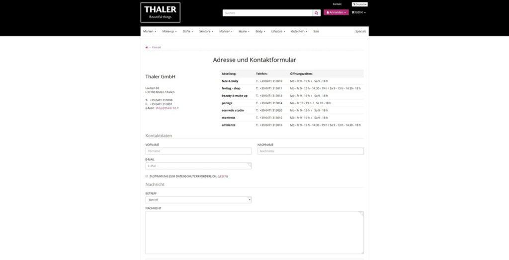 Thalershop Kontakt