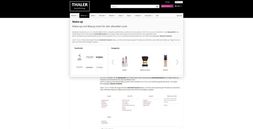 Thalershop Navigation