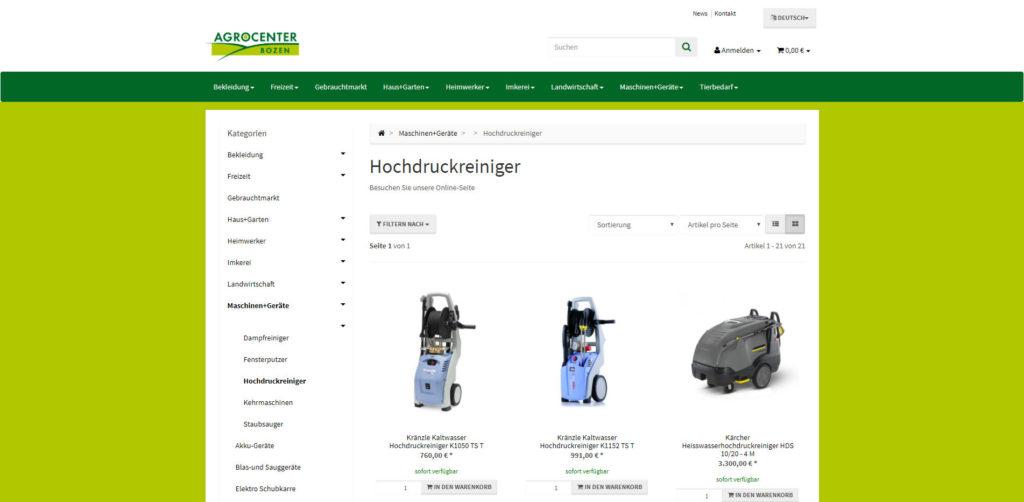 Agrocenter Artikelübersicht
