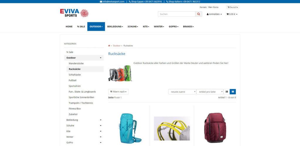Eviva Sports Produktübersicht