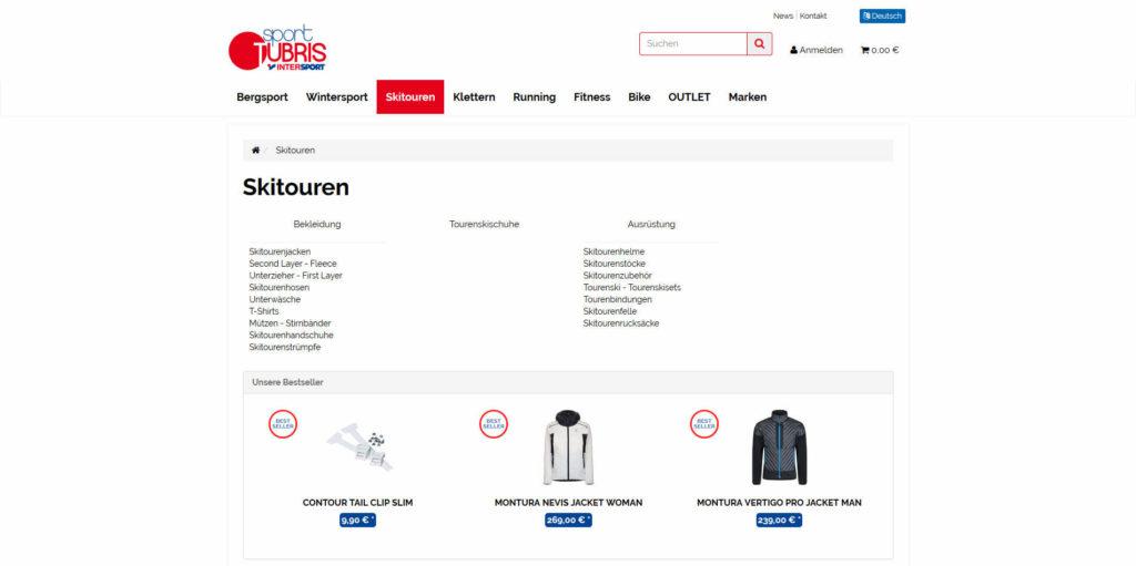 www.sport-tubris.com Kategorieübersicht