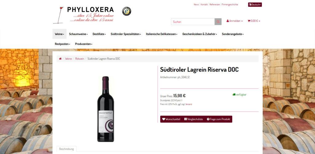 Wein Online Shop Artikeldetail