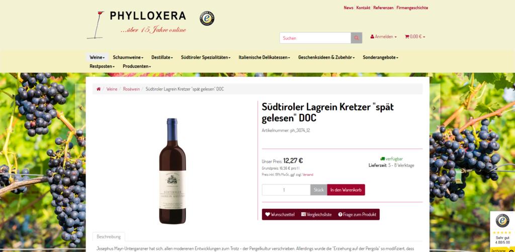 Weine Südtirol Onlineshop Artikeldetail
