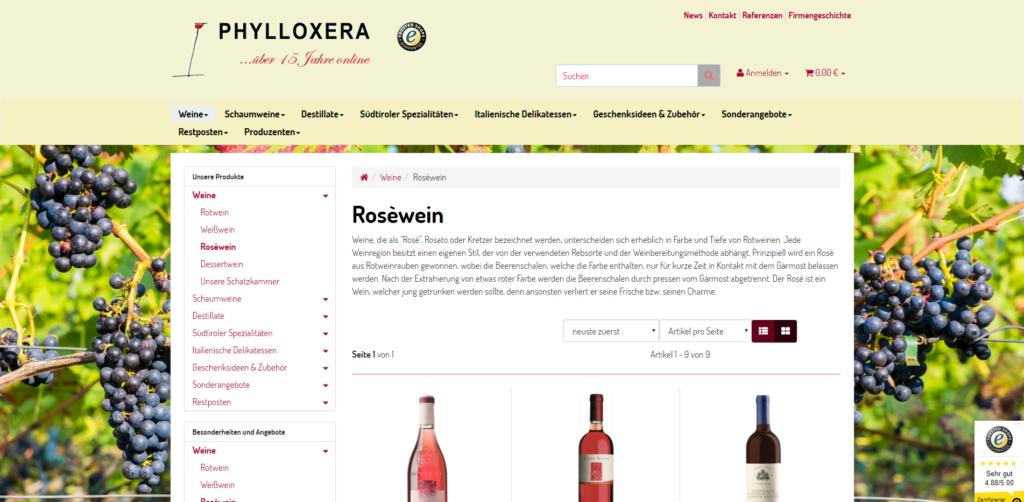 Weine Südtirol Onlineshop Artikelübersicht
