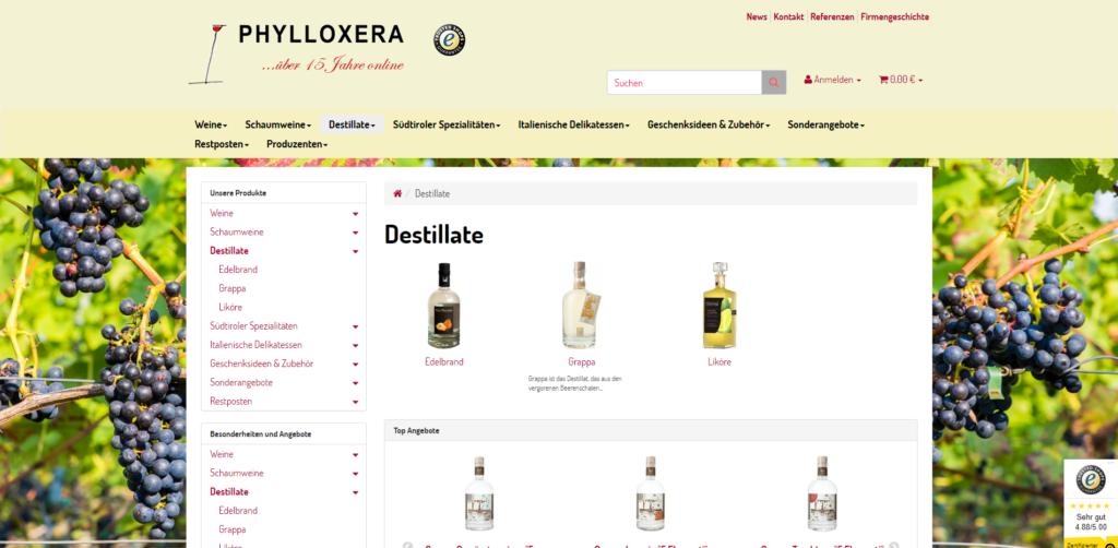 Weine Südtirol Onlineshop Kategorie