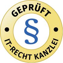 """Prüfzeichen """"Geprüfter Shop"""" der IT-Recht Kanzlei München"""