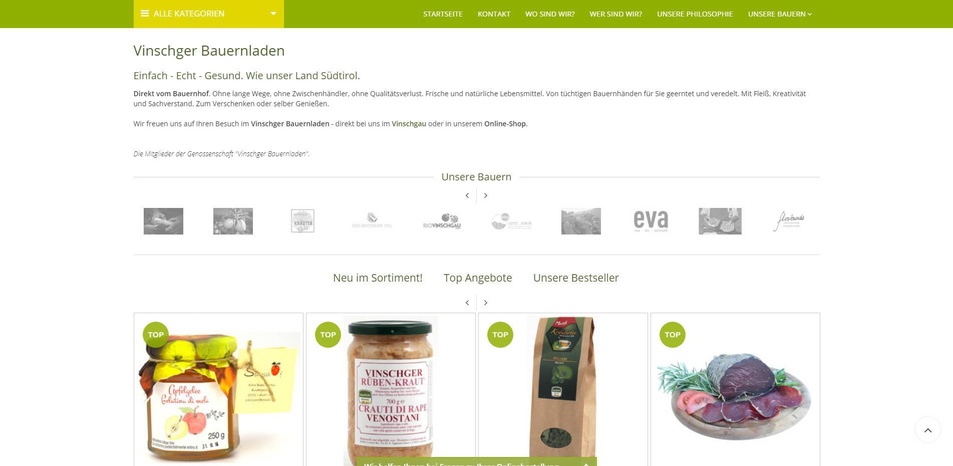 Vinschger Bauerladen Homepage