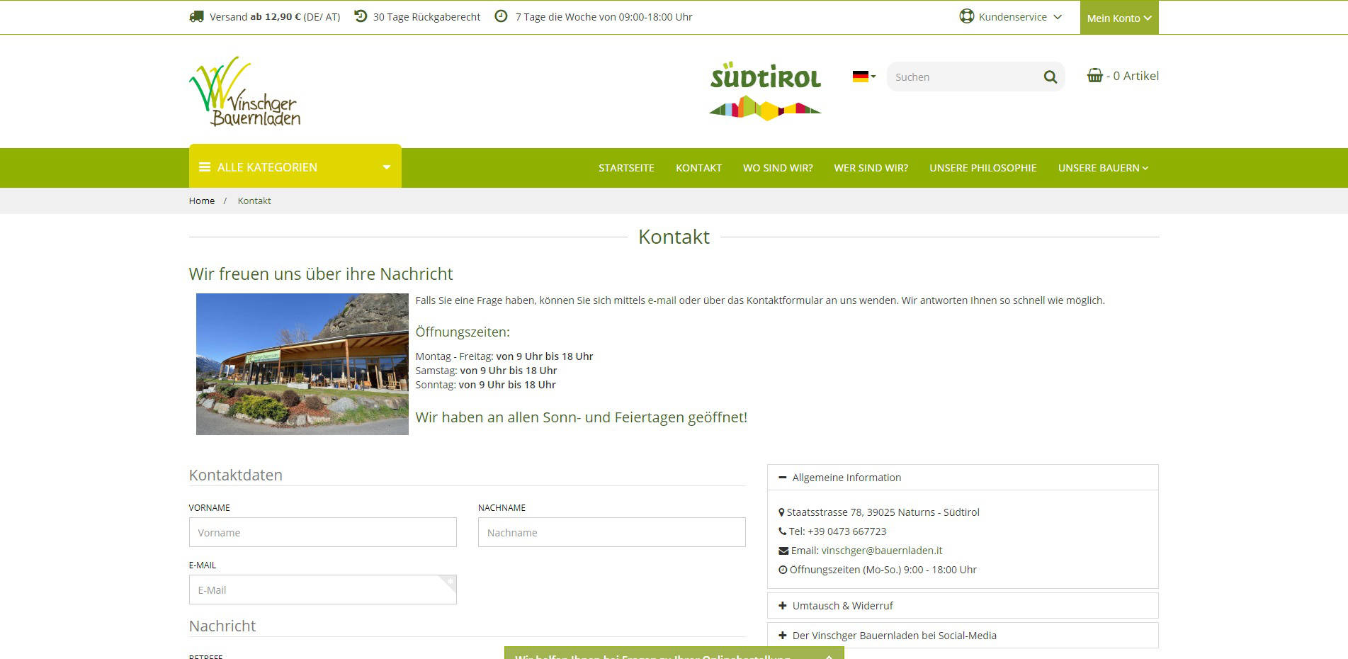 Vinschger Bauerladen Kontakt