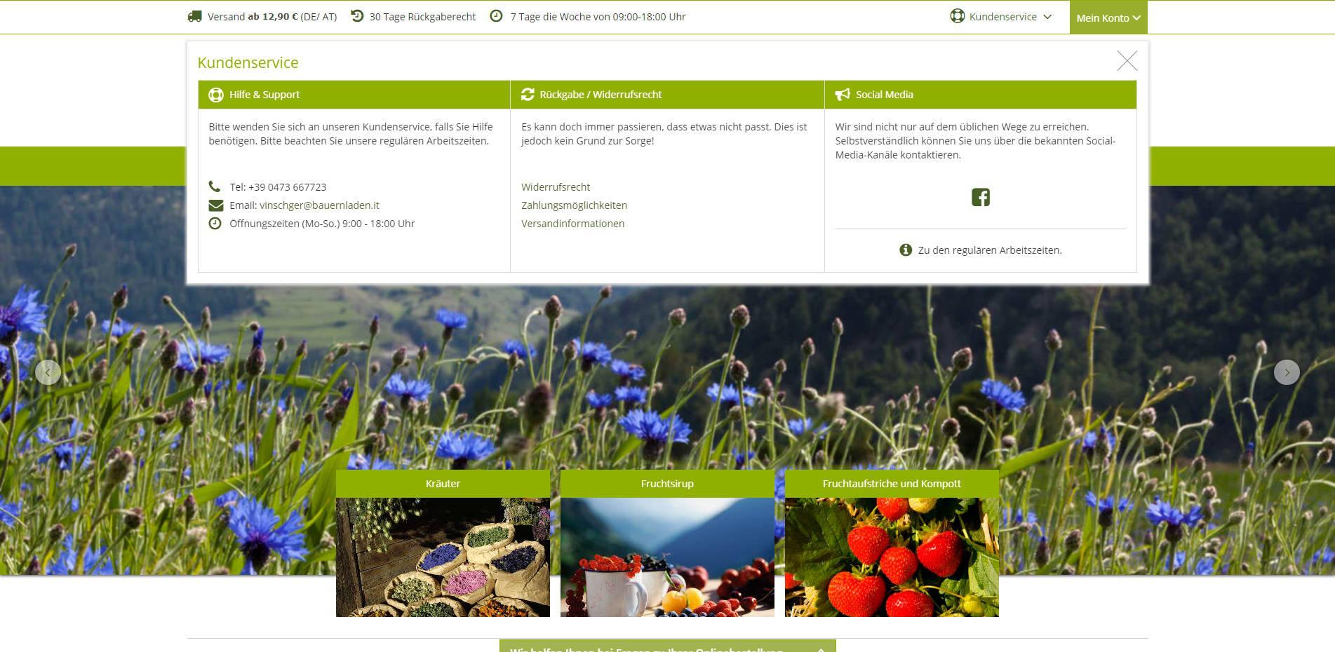 Vinschger Bauerladen Kundenservice