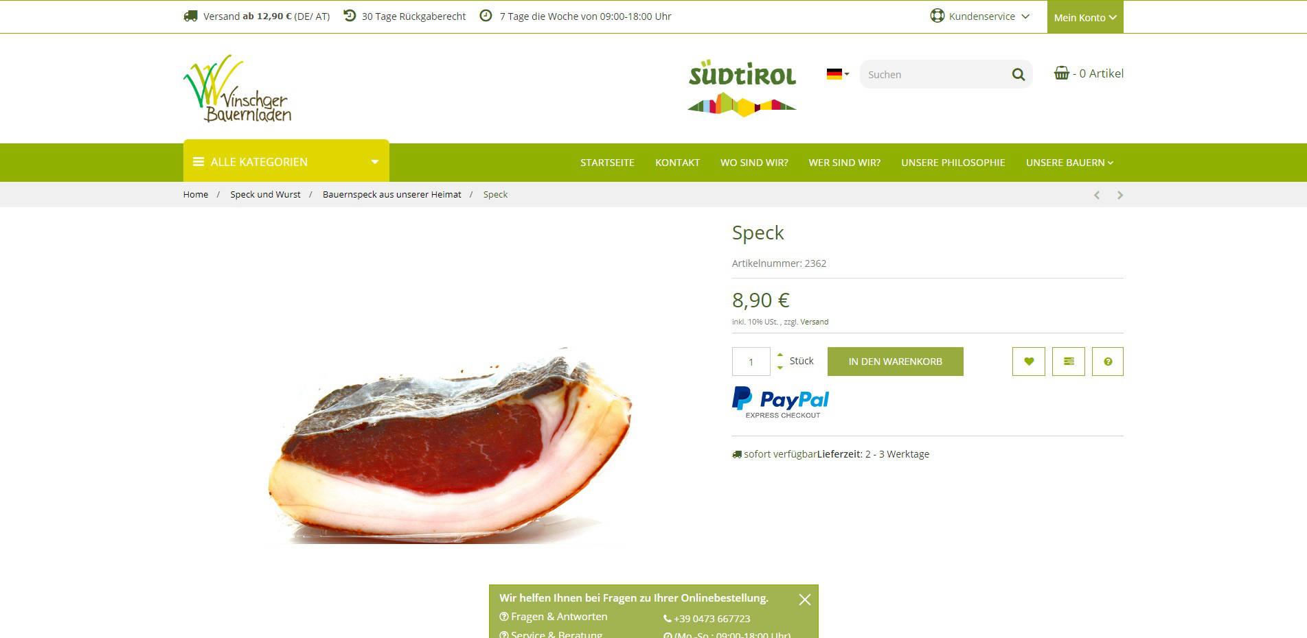 Vinschger Bauerladen Produktdetail