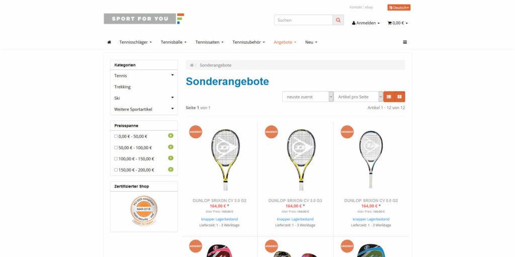 www.sportforyou.net Sonderangebote