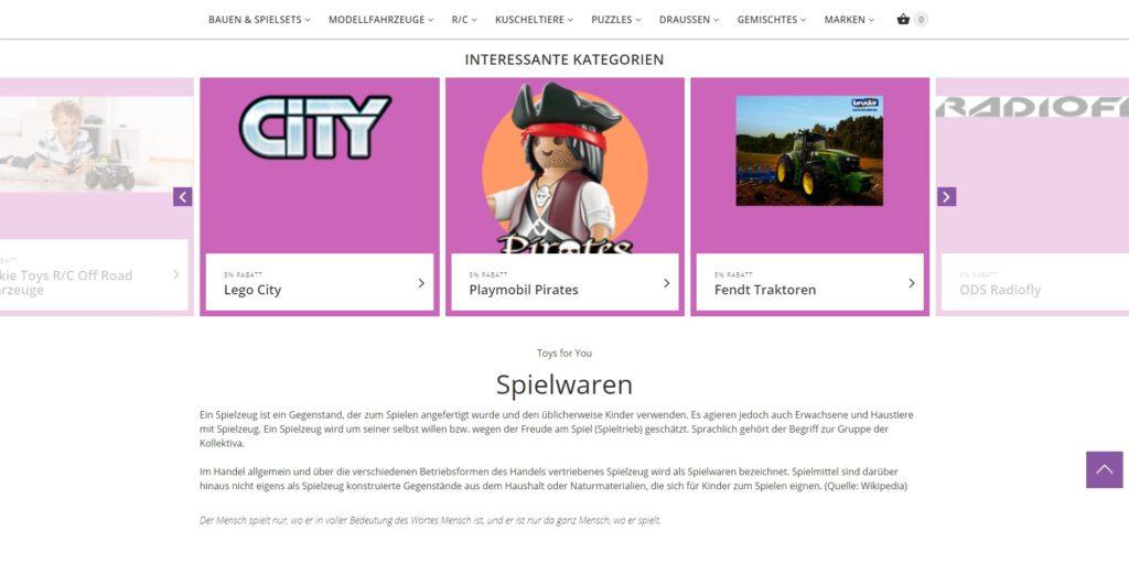ToysForYou - Homepage Mittelteil