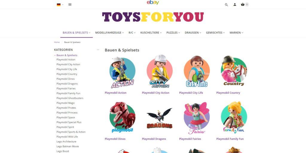 ToysForYou - Kategorie