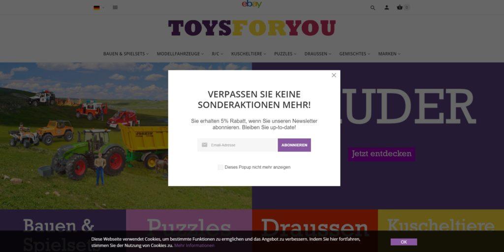 ToysForYou - Newsletter-Popup
