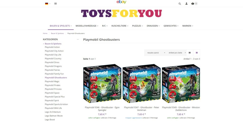 ToysForYou - Unterkategorie