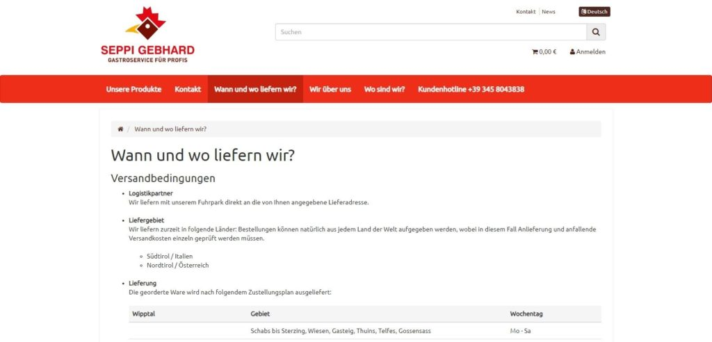 Seppishop Lieferung