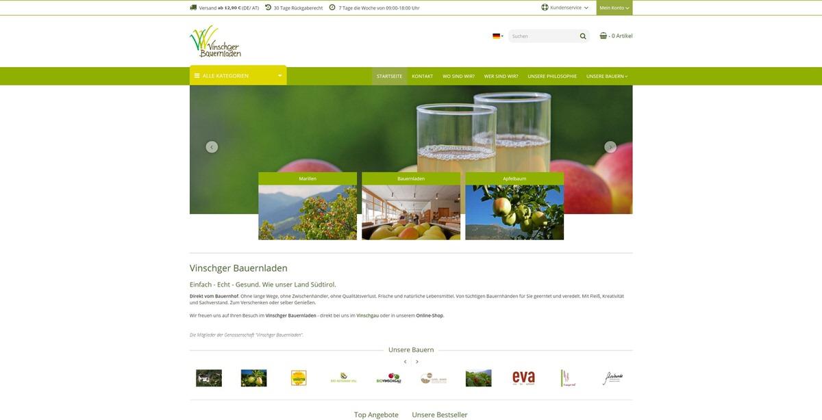 Vinschger Bauernladen Homepage