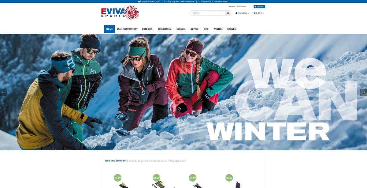 Eviva Sports Homepage