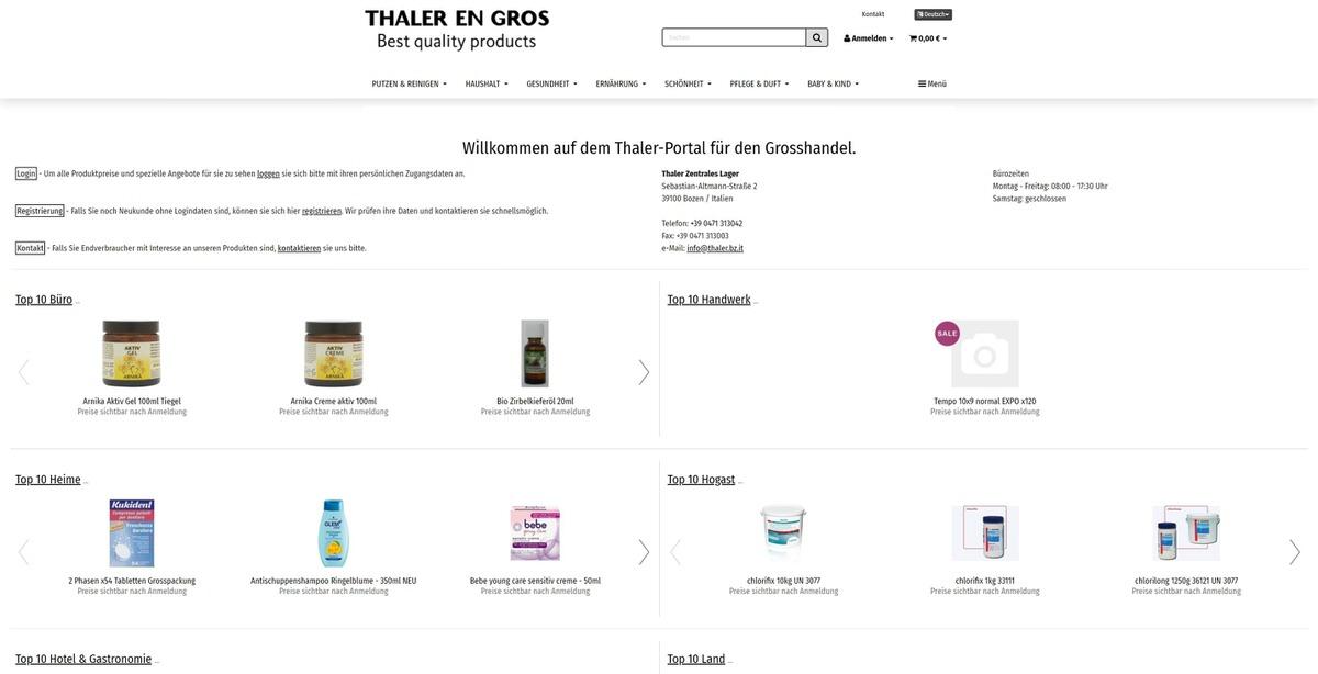 Thaler B2B Homepage