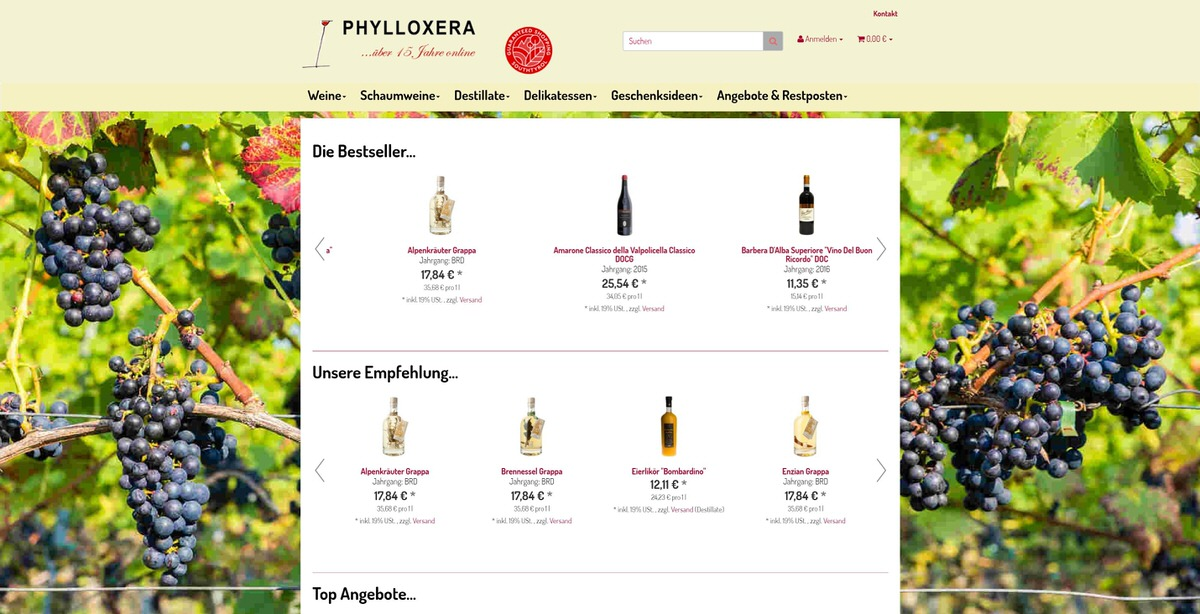 Weine Südtirol Homepage