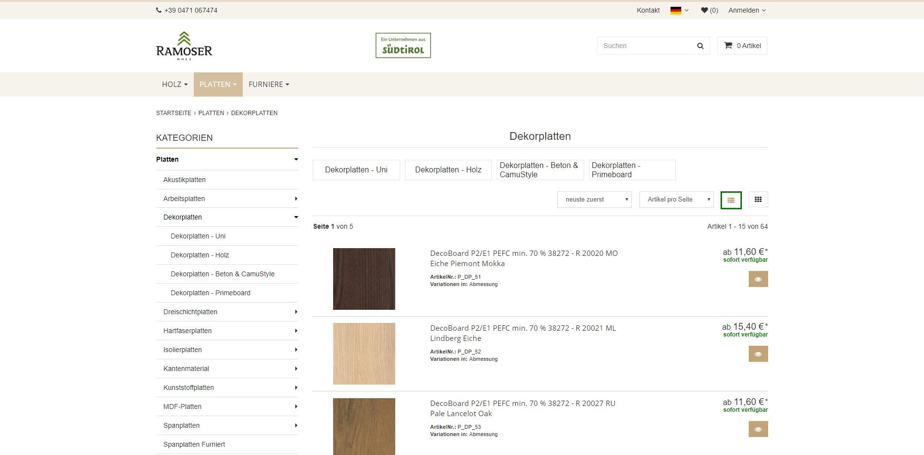 Ramoser-Holz Unterkategorien