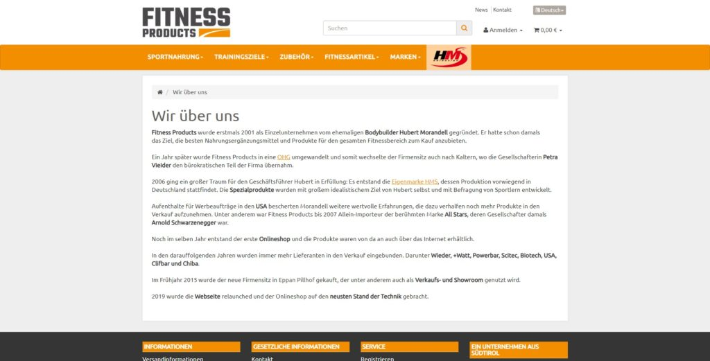 Fitness Products CMS