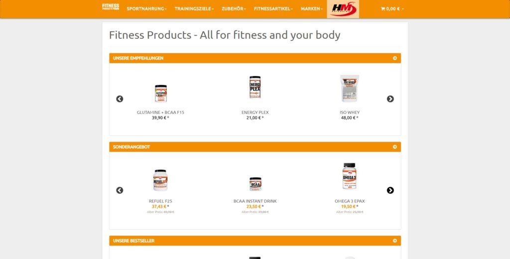 Fitness Products Homepage