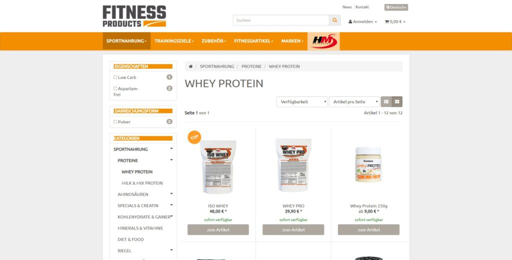 Fitness Products Kategorie