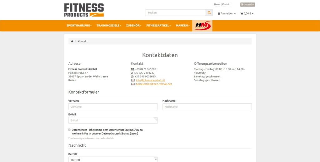 Fitness Products Kontakt
