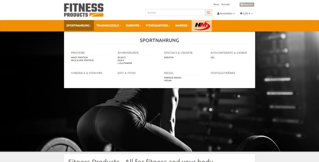 Fitness Products Navigation