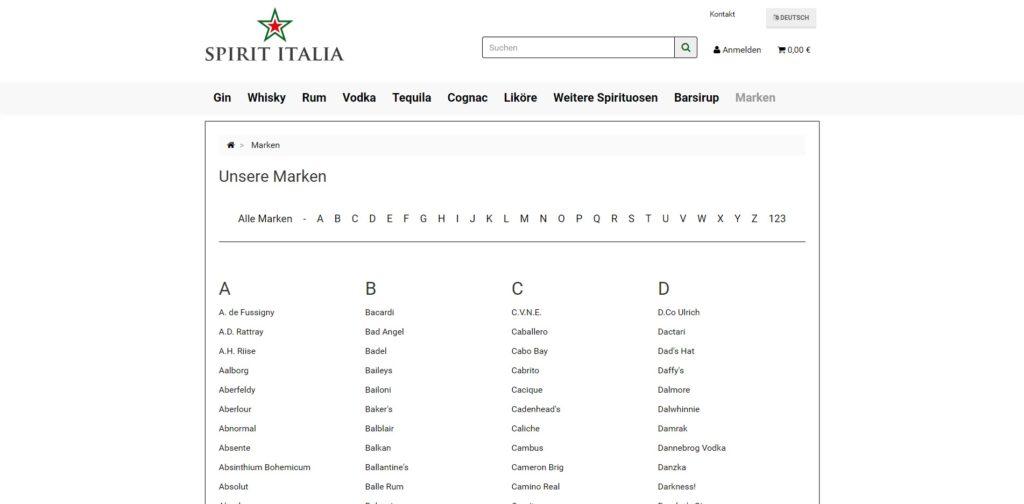 Spirit Italia Marken