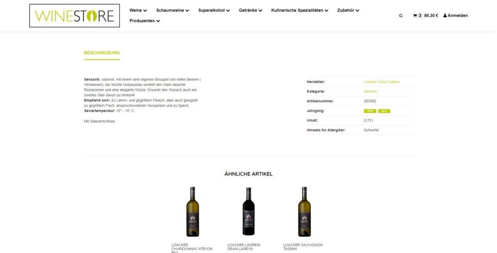 Winestore Artikelbeschreibung