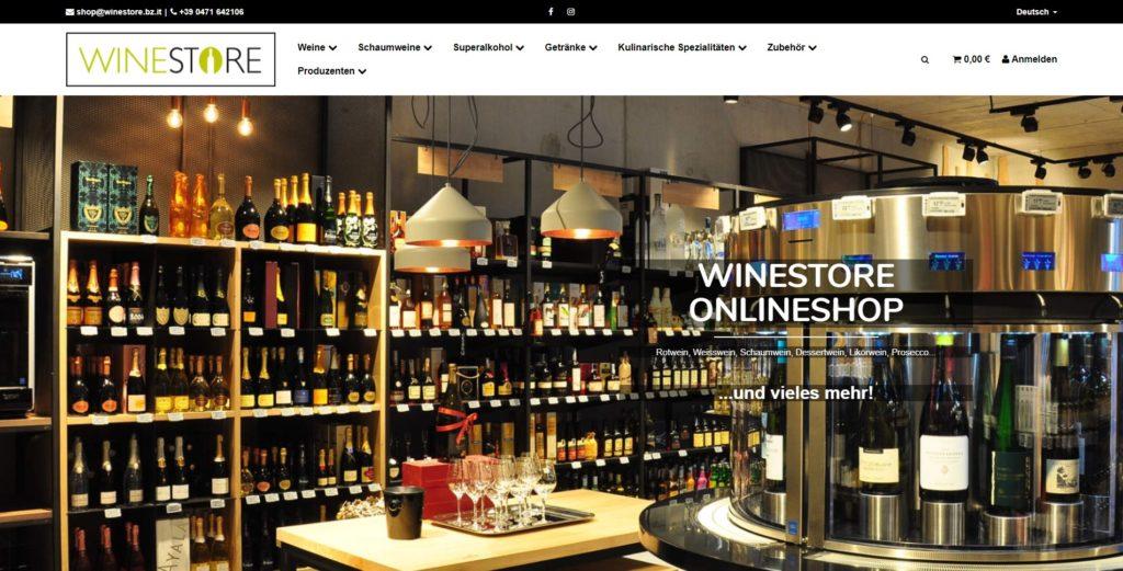 Winestore Homepage