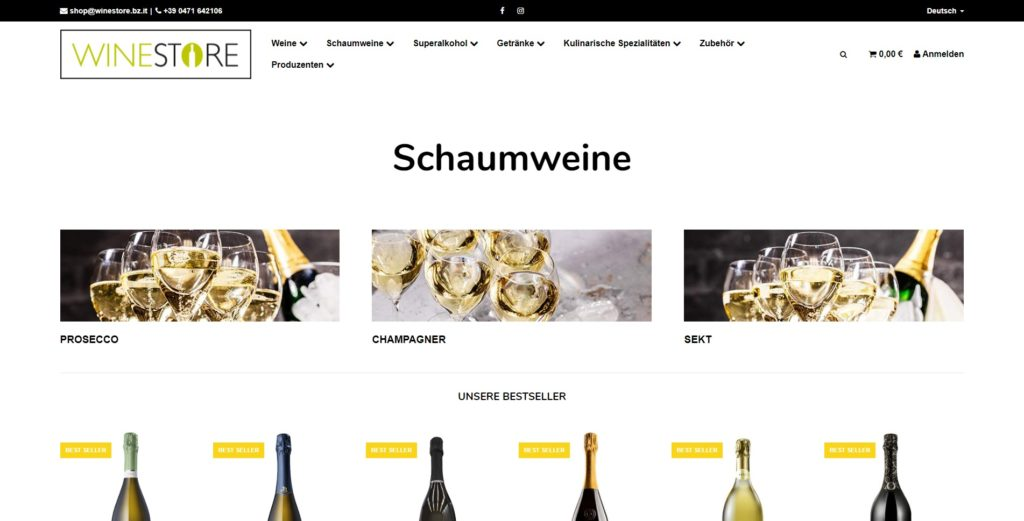 Winestore Kategorie