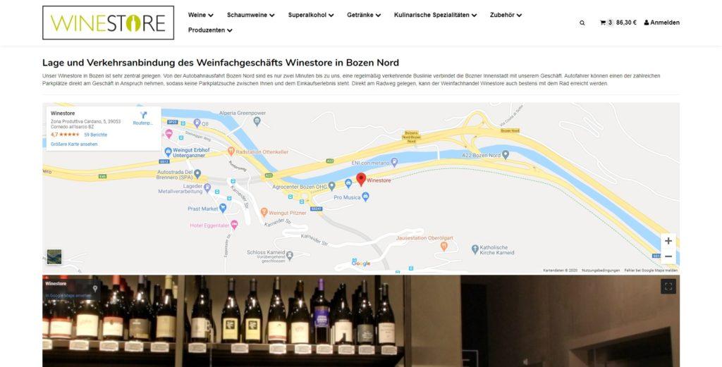 Winestore Lage