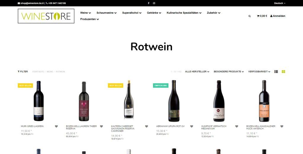 Winestore Unterkategorie