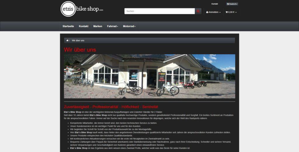 Etzis Bikeshop CMS