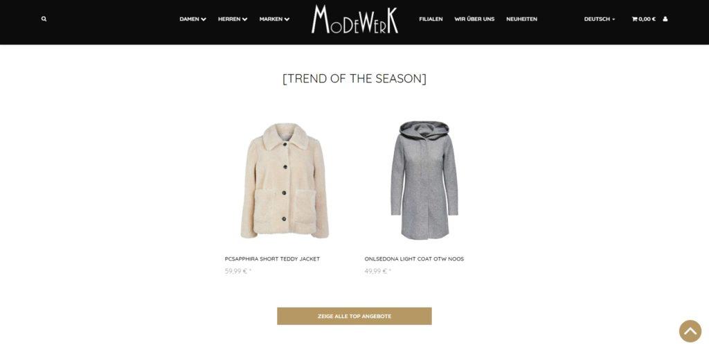 Modewerk Homepage
