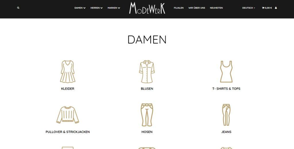Modewerk Kategorien