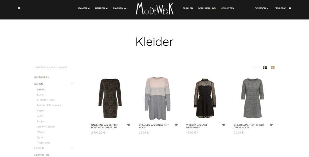 Modewerk Unterkategorien